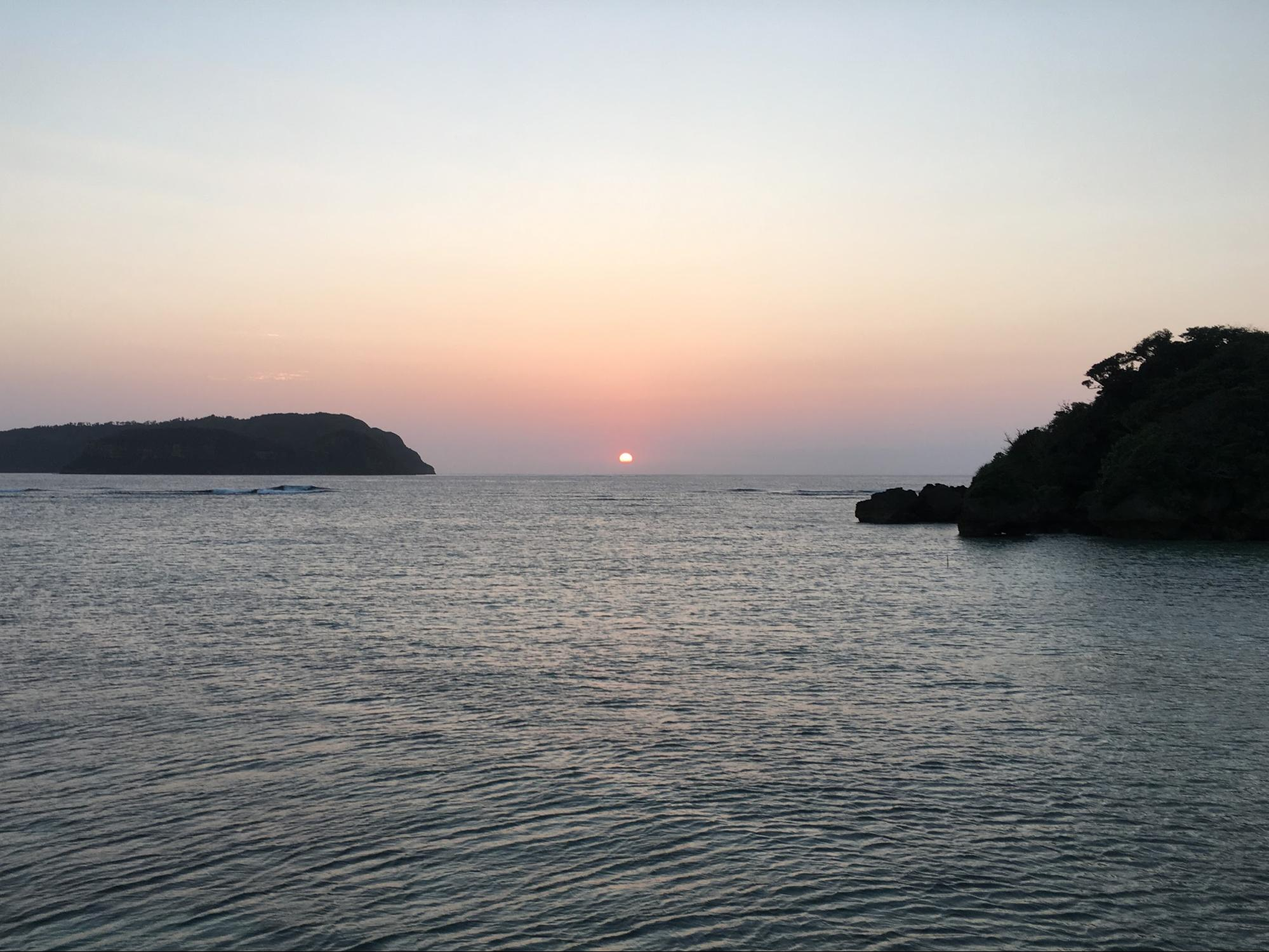 西表島祖納港に沈む夕日③